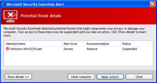 """Microsoft Security Essentials Alert"" rogue antivirus screenshot"