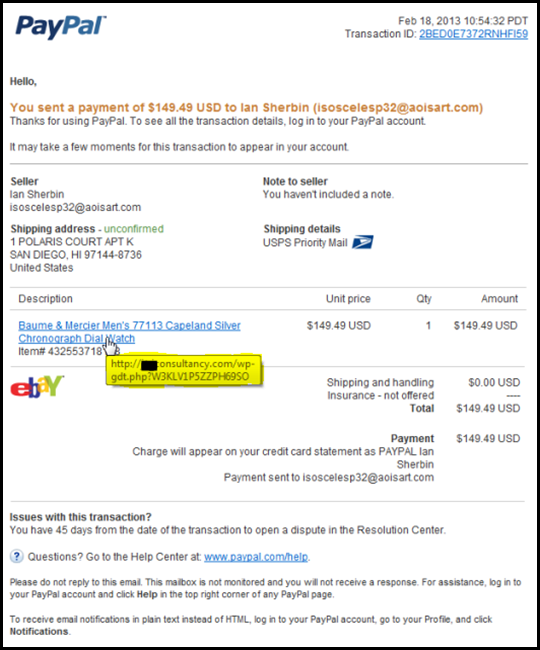 Fraudulent email determined by tooltip from hyperlink