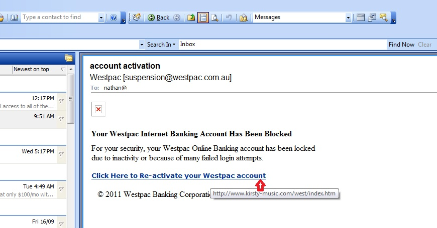 A fake email purportedly from Westpac Banking Corporation